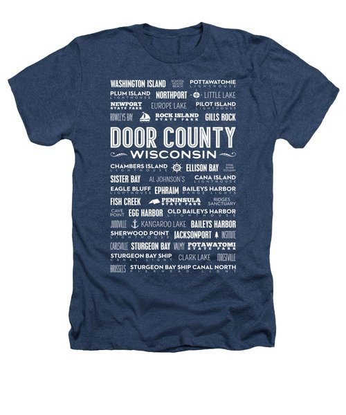 Places Of Door County On Black Heathers T-Shirt