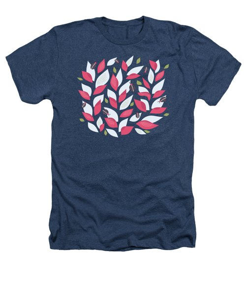 Pretty Plant With White Pink Leaves And Ladybugs Heathers T-Shirt