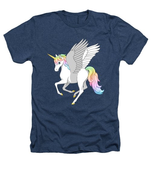 Pretty Rainbow Unicorn Flying Horse Heathers T-Shirt