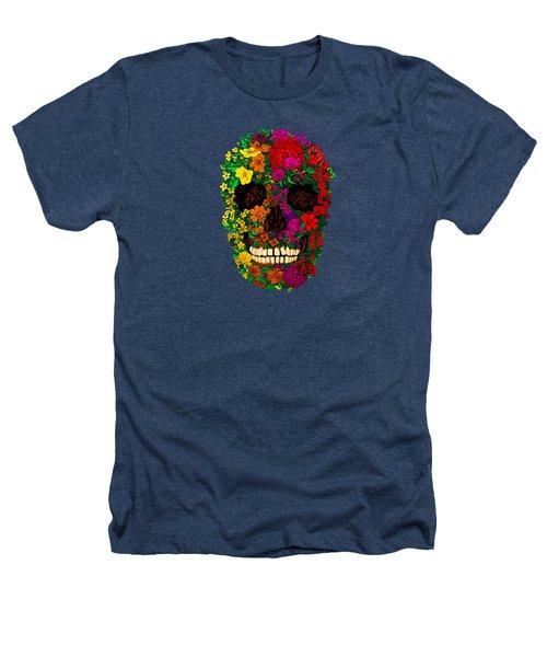 Rainbow Flowers Sugar Skull Heathers T-Shirt by Three Second