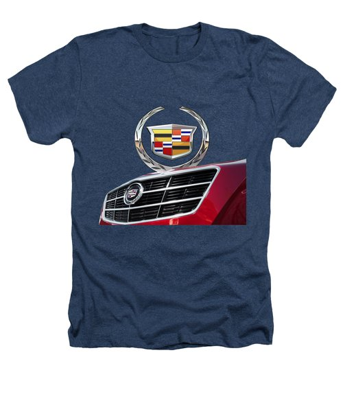 Red Cadillac C T S - Front Grill Ornament And 3d Badge On Black Heathers T-Shirt by Serge Averbukh