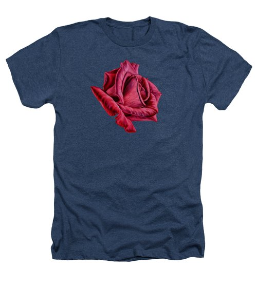 Red Rose On Black Heathers T-Shirt by Sarah Batalka