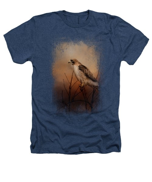 Red Tail In Wait Heathers T-Shirt by Jai Johnson
