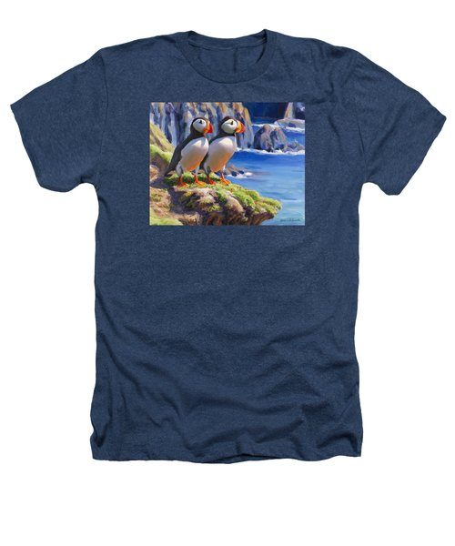 Reflecting - Horned Puffins - Coastal Alaska Landscape Heathers T-Shirt