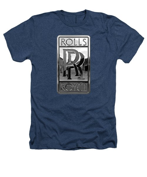 Rolls Royce - 3d Badge On Black Heathers T-Shirt by Serge Averbukh