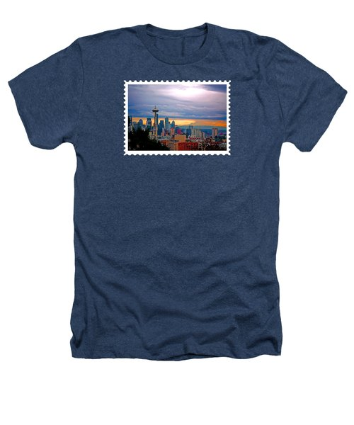 Seattle At Sunset Heathers T-Shirt by Elaine Plesser