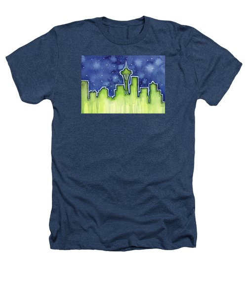 Seattle Night Sky Watercolor Heathers T-Shirt by Olga Shvartsur