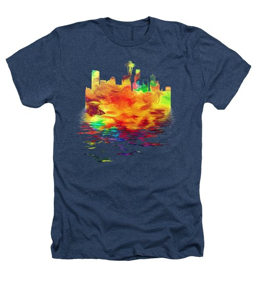 Seattle Skyline, Orange Tones On Black Heathers T-Shirt by Pamela Saville