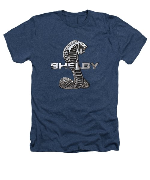 Shelby Cobra - 3d Badge On Black Heathers T-Shirt by Serge Averbukh