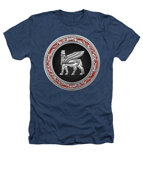 Silver Babylonian Winged Bull  Heathers T-Shirt by Serge Averbukh