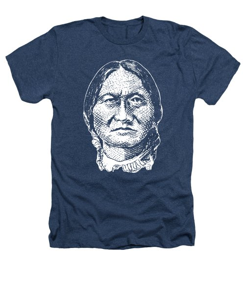 Sitting Bull Graphic - Black And White Heathers T-Shirt by War Is Hell Store