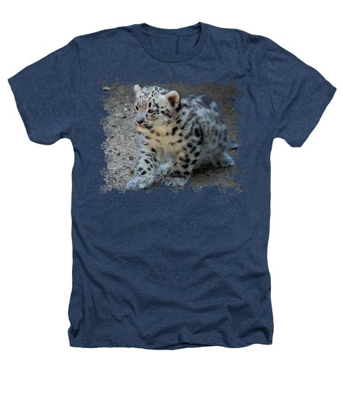 Snow Leopard Cub Paws Border Heathers T-Shirt by Terry DeLuco