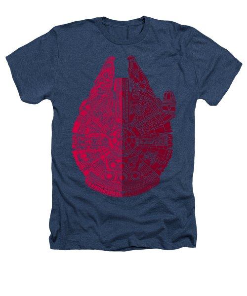Star Wars Art - Millennium Falcon - Red, Black Heathers T-Shirt