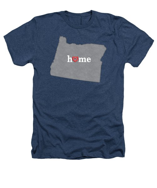 State Map Outline Oregon With Heart In Home Heathers T-Shirt