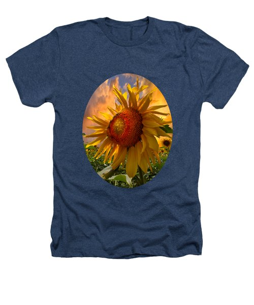 Sunflower Dawn In Oval Heathers T-Shirt by Debra and Dave Vanderlaan