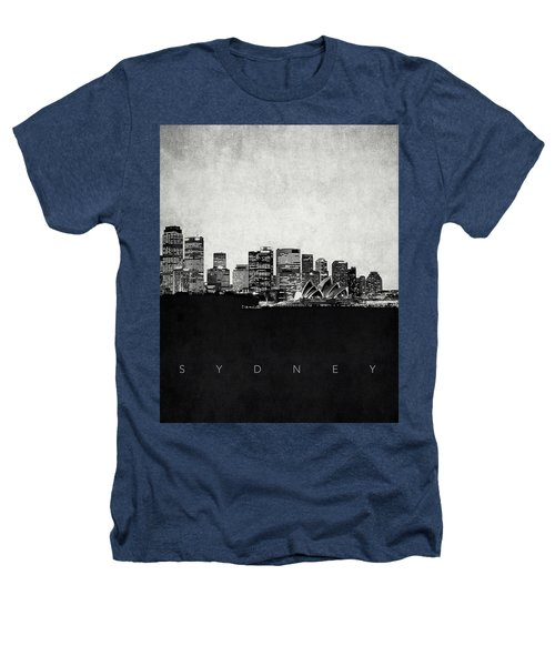 Sydney City Skyline With Opera House Heathers T-Shirt by World Art Prints And Designs