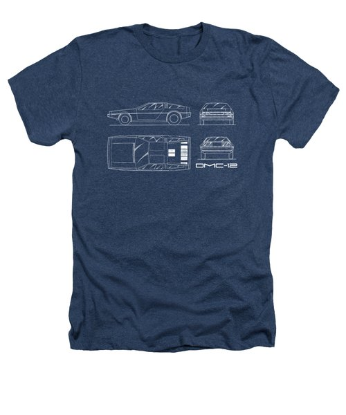 The Delorean Dmc-12 Blueprint Heathers T-Shirt by Mark Rogan