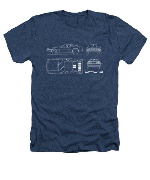 The Delorean Dmc-12 Blueprint Heathers T-Shirt
