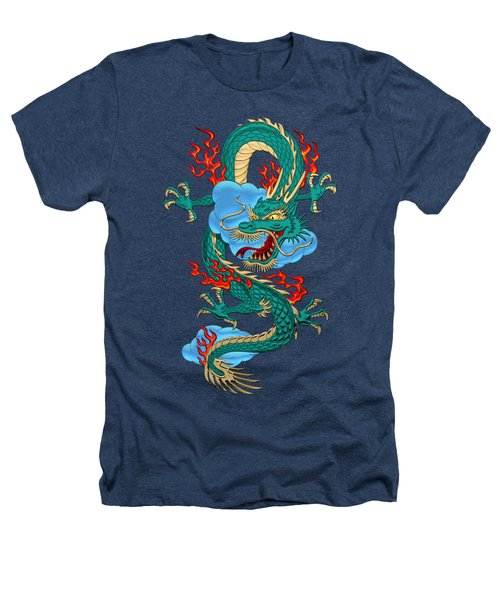The Great Dragon Spirits - Turquoise Dragon On Black Silk Heathers T-Shirt