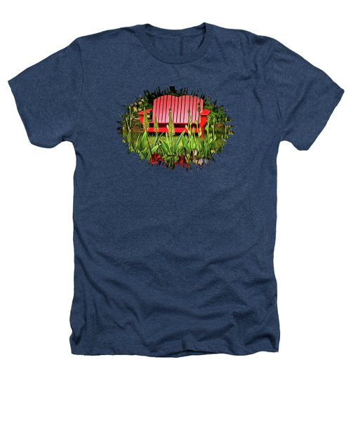 The Red Garden Bench Heathers T-Shirt by Thom Zehrfeld
