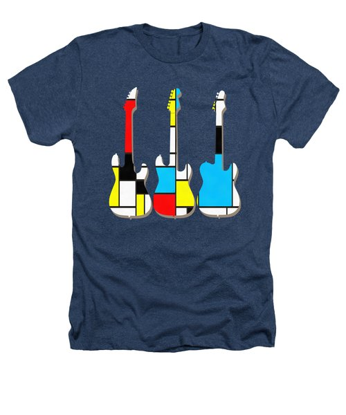 Three Guitars Modern Tee Heathers T-Shirt by Edward Fielding