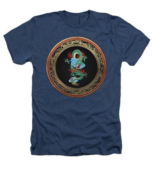 Treasure Trove - Turquoise Dragon Over Black Velvet Heathers T-Shirt