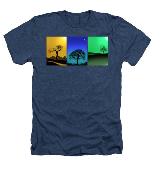 Tree Triptych Heathers T-Shirt by Mark Rogan
