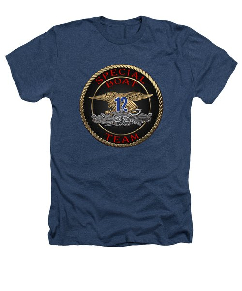 U. S. Navy S W C C - Special Boat Team 12   -  S B T 12  Patch Over Black Velvet Heathers T-Shirt by Serge Averbukh