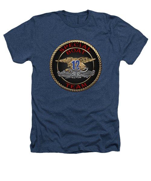 U. S. Navy S W C C - Special Boat Team 12   -  S B T 12  Patch Over Black Velvet Heathers T-Shirt