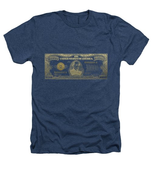 U.s. Ten Thousand Dollar Bill - 1934 $10000 Usd Treasury Note In Gold On Black Heathers T-Shirt by Serge Averbukh