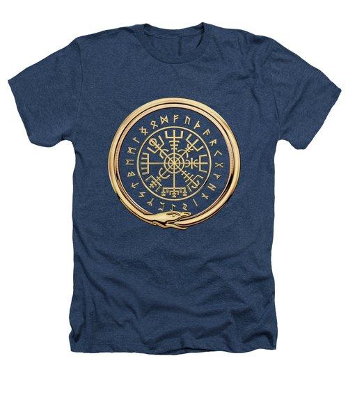 Vegvisir - A Magic Icelandic Viking Runic Compass - Gold On Black Heathers T-Shirt