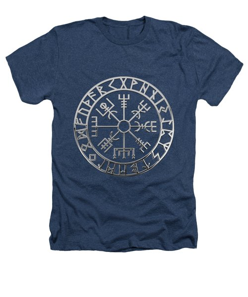 Vegvisir - A Magic Icelandic Viking Runic Compass - Silver On Black Heathers T-Shirt