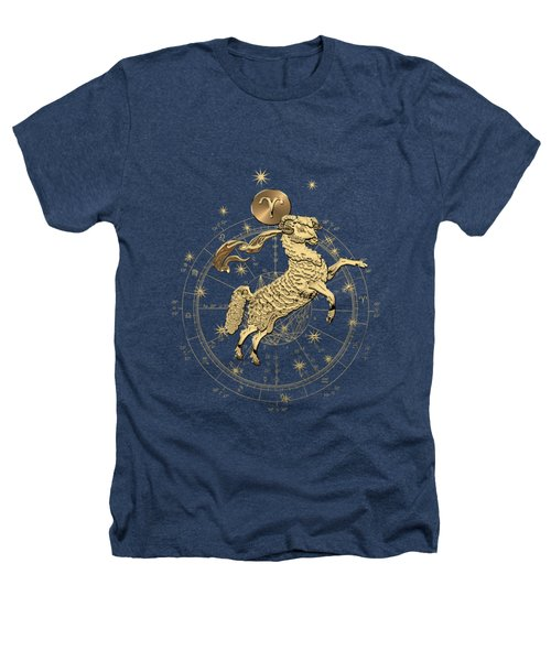 Western Zodiac - Golden Aries -the Ram On Black Canvas Heathers T-Shirt