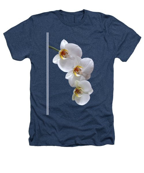 White Orchids On Black Vertical Heathers T-Shirt by Gill Billington