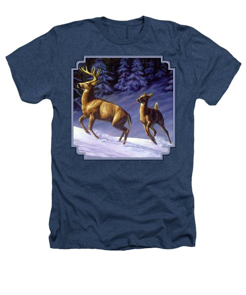 Whitetail Deer Painting - Startled Heathers T-Shirt