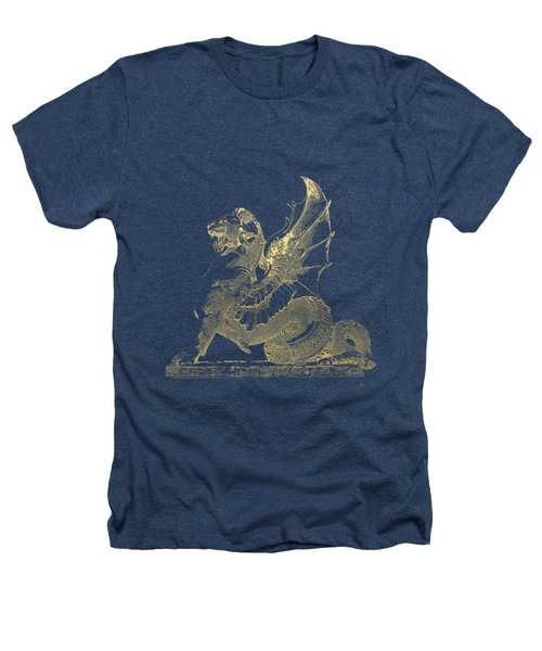 Winged Dragon Chimera From Fontaine Saint-michel, Paris In Gold On Black Heathers T-Shirt by Serge Averbukh