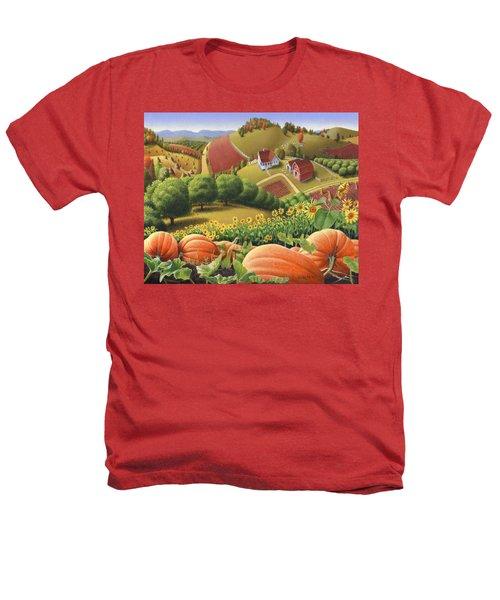Farm Landscape - Autumn Rural Country Pumpkins Folk Art - Appalachian Americana - Fall Pumpkin Patch Heathers T-Shirt