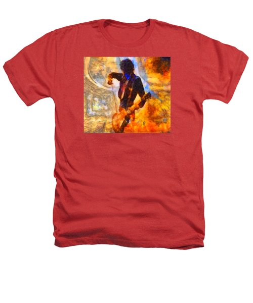 Jimmy Page Playing Guitar With Bow Heathers T-Shirt by Dan Sproul