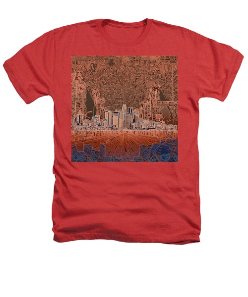 Los Angeles Skyline Abstract 7 Heathers T-Shirt by Bekim Art