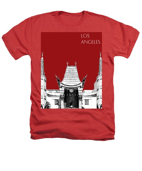 Los Angeles Skyline Graumans Chinese Theater - Dark Red Heathers T-Shirt