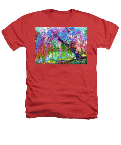 Weeping Beauty, Cherry Blossom Tree And Heron Heathers T-Shirt