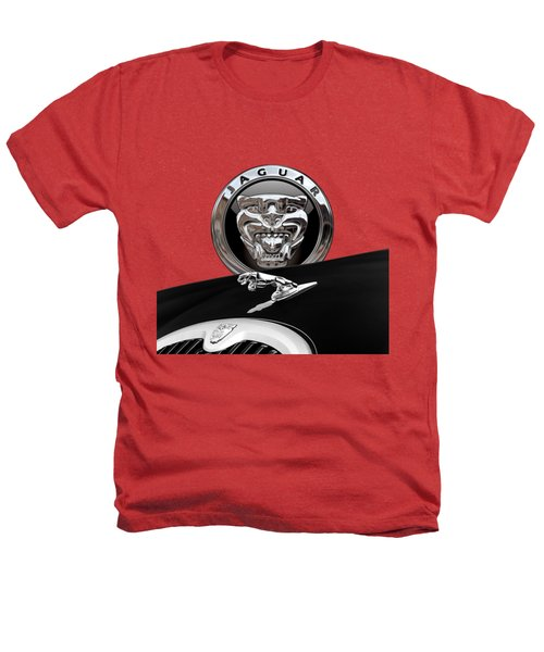 Black Jaguar - Hood Ornaments And 3 D Badge On Red Heathers T-Shirt by Serge Averbukh