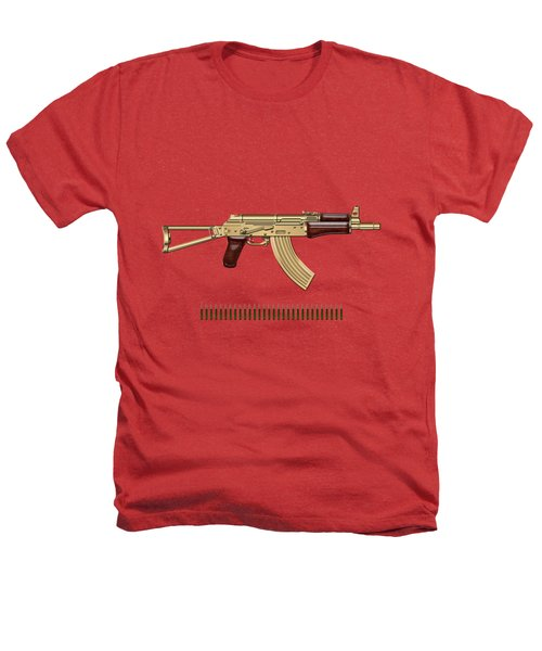 Gold A K S-74 U Assault Rifle With 5.45x39 Rounds Over Red Velvet   Heathers T-Shirt by Serge Averbukh
