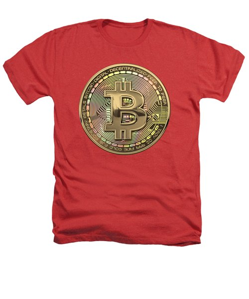 Gold Bitcoin Effigy Over Red Canvas Heathers T-Shirt