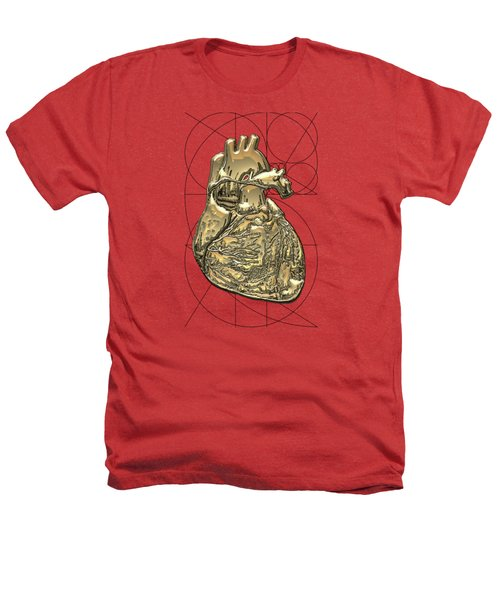 Heart Of Gold - Golden Human Heart On Red Canvas Heathers T-Shirt by Serge Averbukh