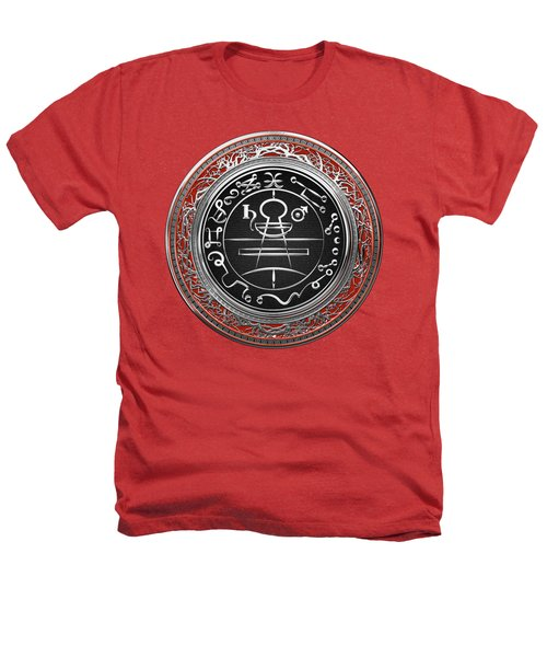 Silver Seal Of Solomon - Lesser Key Of Solomon On Red Velvet  Heathers T-Shirt