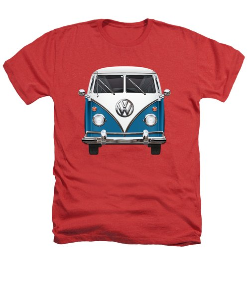 Volkswagen Type 2 - Blue And White Volkswagen T 1 Samba Bus Over Orange Canvas  Heathers T-Shirt by Serge Averbukh