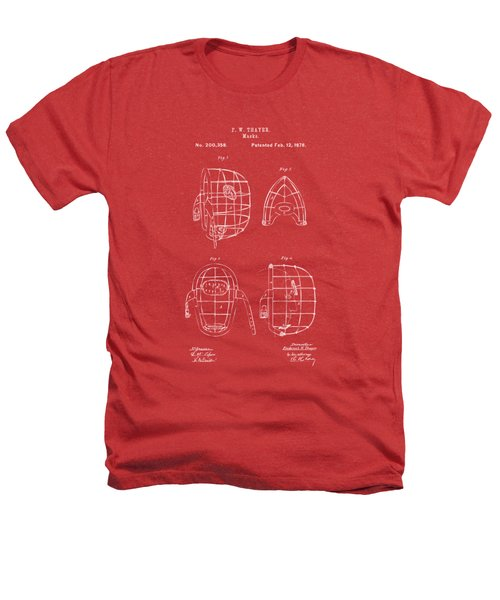 1878 Baseball Catchers Mask Patent - Red Heathers T-Shirt