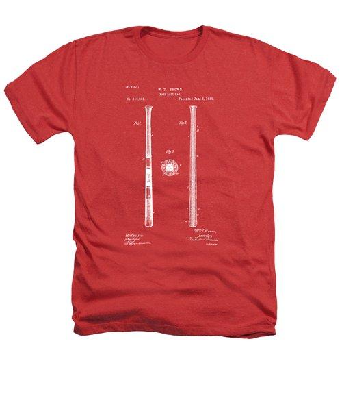 1885 Baseball Bat Patent Artwork - Red Heathers T-Shirt by Nikki Marie Smith