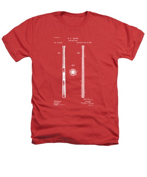 1885 Baseball Bat Patent Artwork - Red Heathers T-Shirt